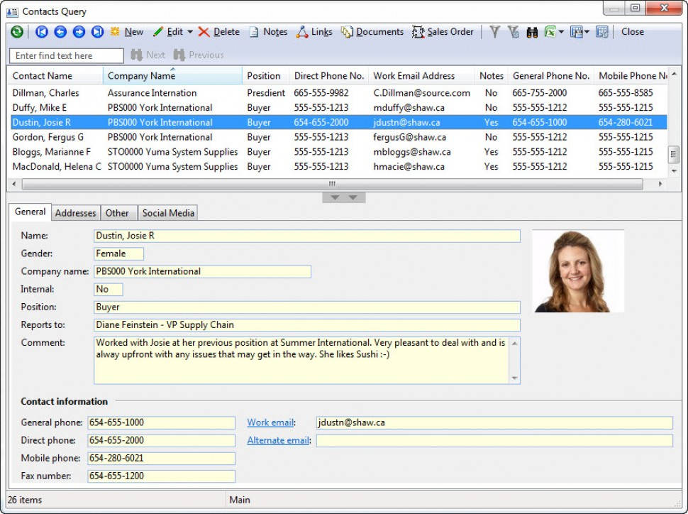 Contacts query