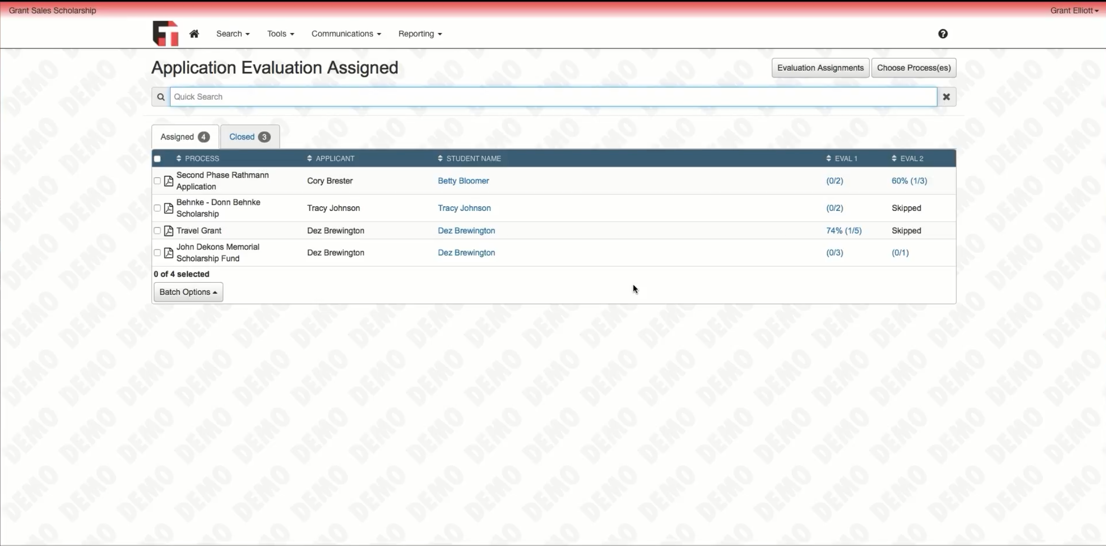 Assign applications out to reviewers and check evaluation status