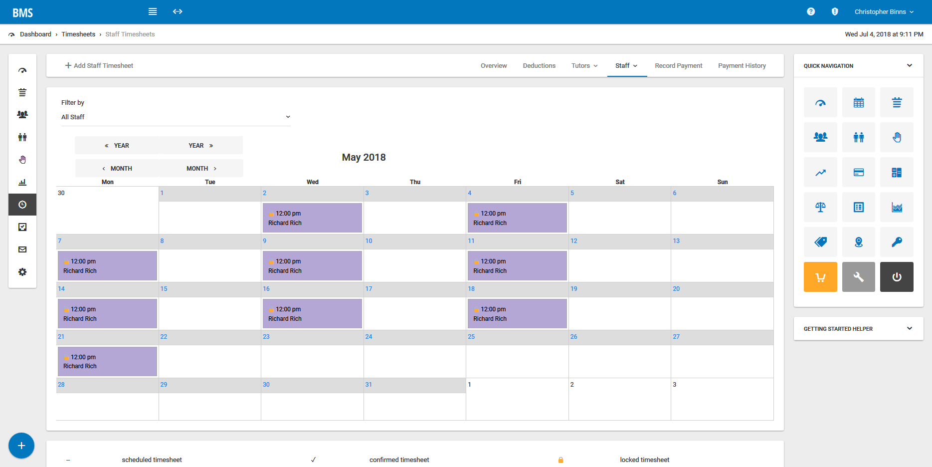 Manage employees and use the calendar tool to schedule work hours
