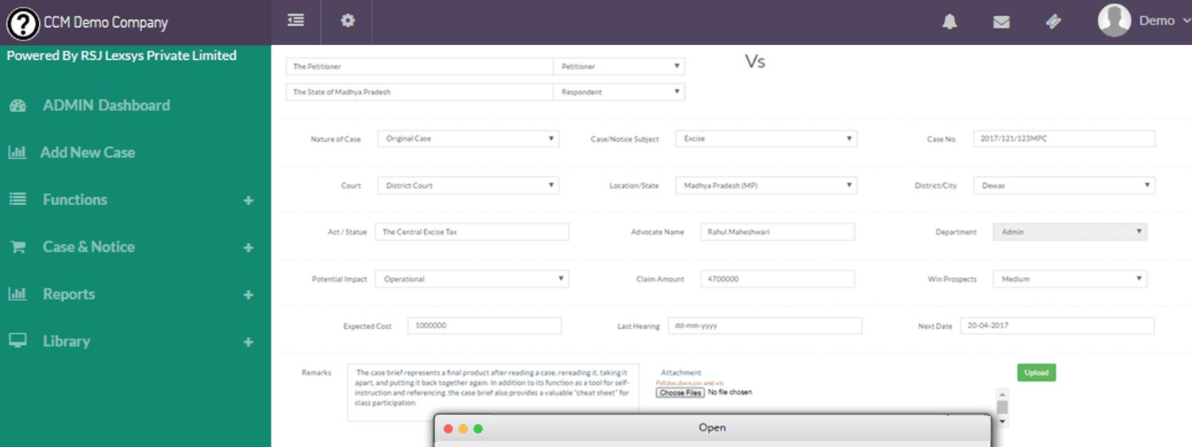 LexComply screenshot: LexComply case management
