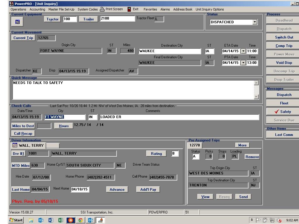 PowerPRO Software - Unit inquiry