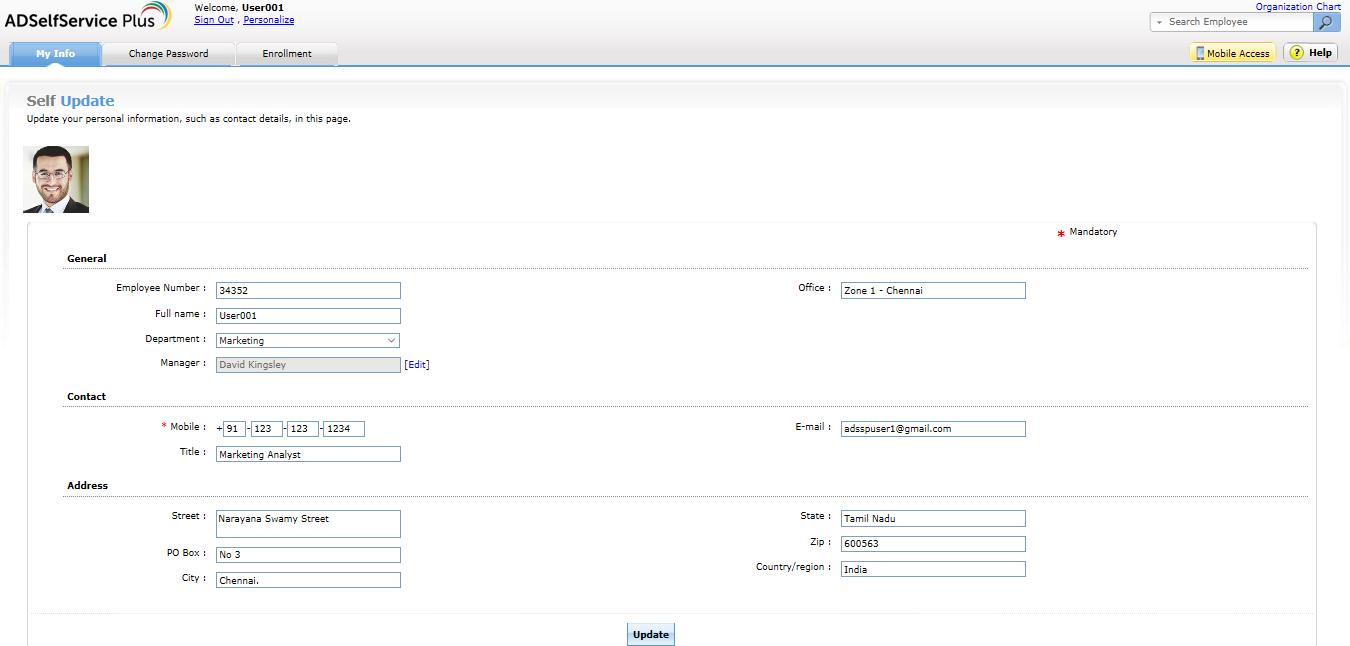 ADSelfService Plus Active directory self update