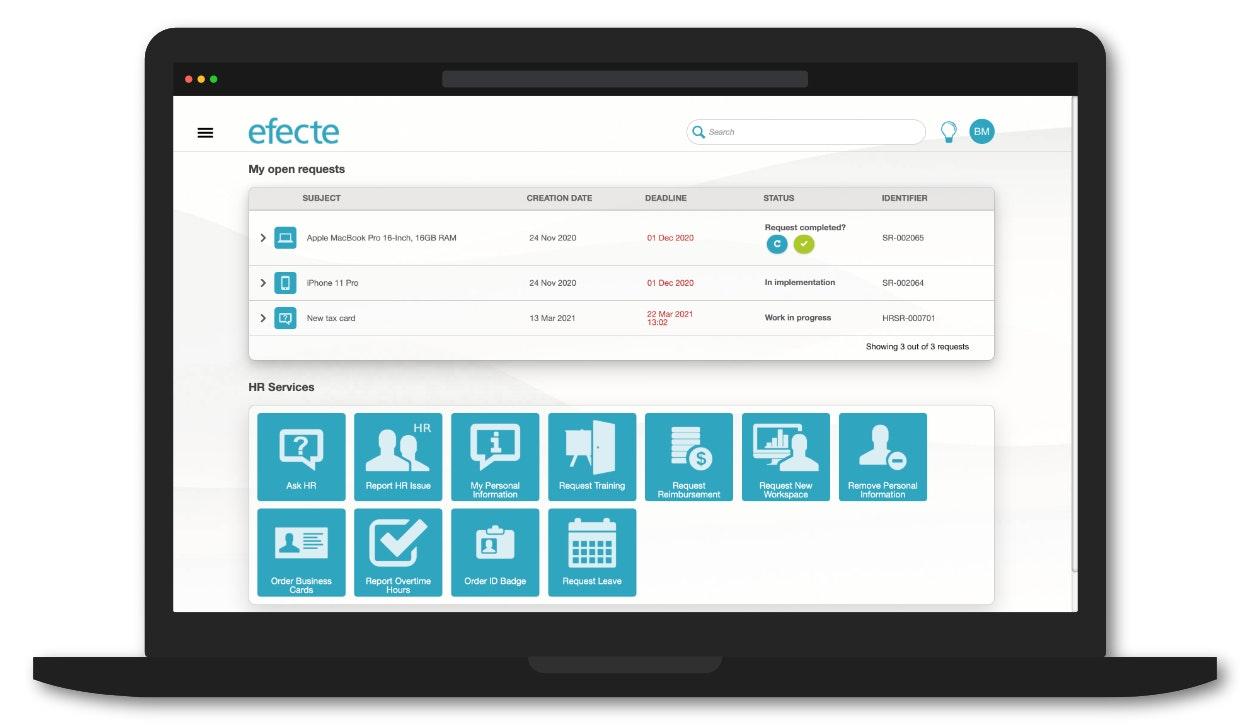 Efecte HRSM screenshot: Efecte HRSM self-service portal for users