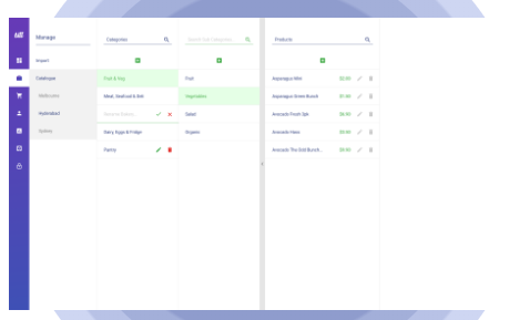Organize products in levels of categories, sub-categories, and variant types