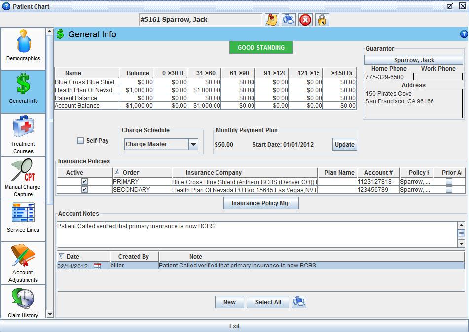 Iridium Suite Software - Patient chart general information