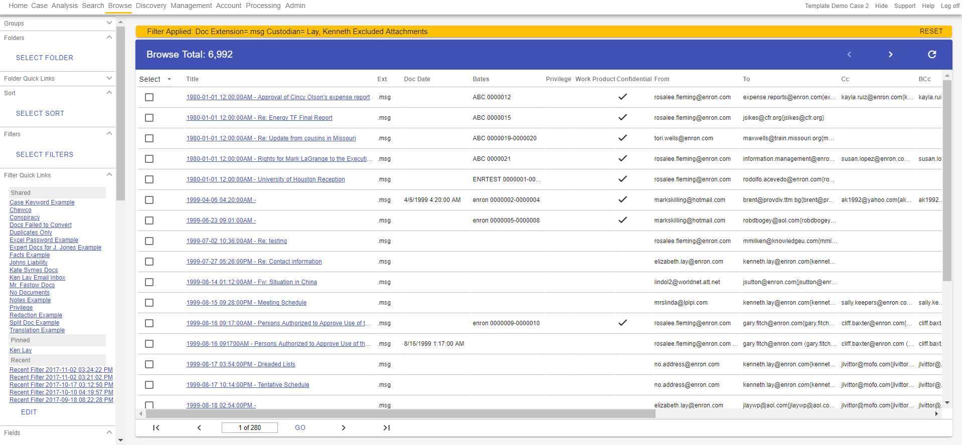 This is the browse screen on the Lexbe eDiscovery Platform. The simple user interface and fully integrated workflow equips boutique firms with the ability to handle document intensive cases in-house.