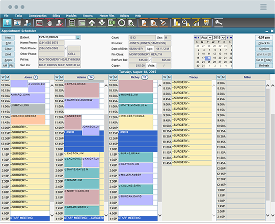 Schedule appointments with ChartLogic's practice management feature