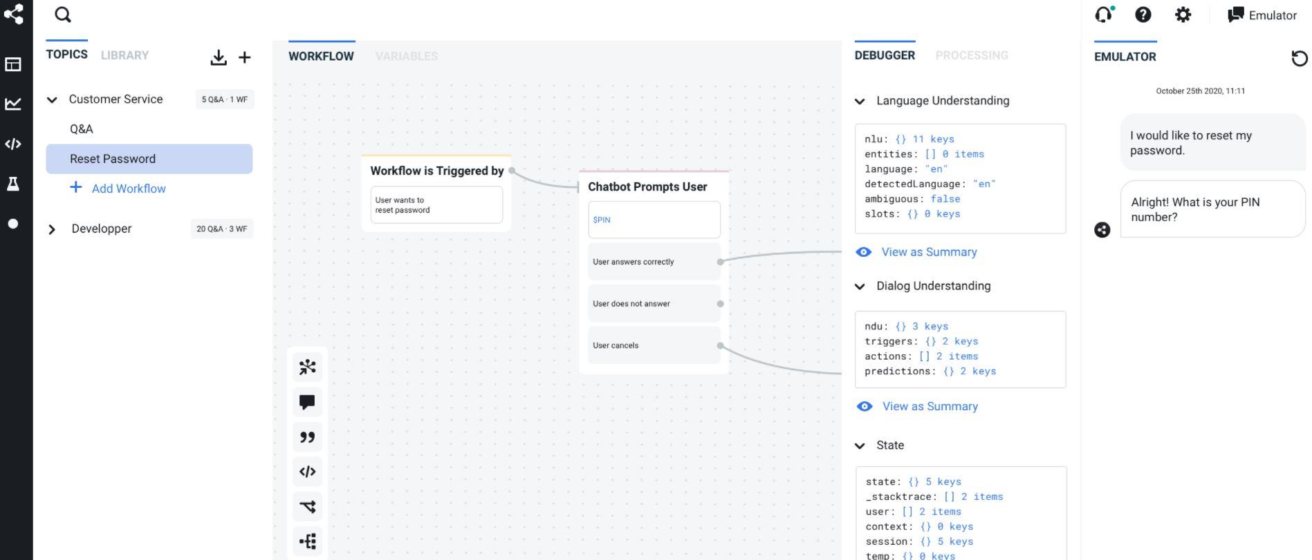 Botpress create workflows