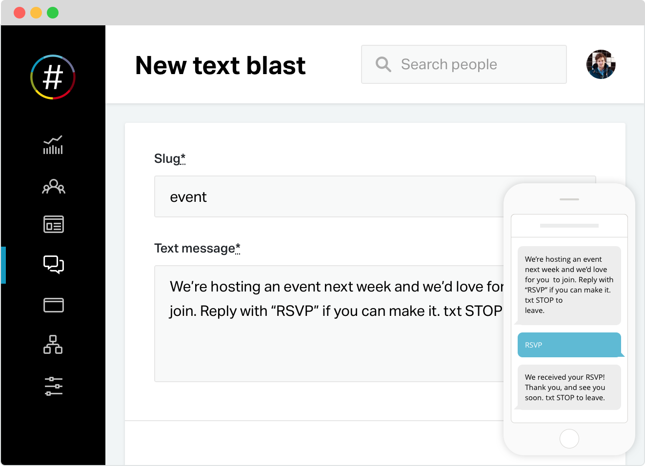 Send email & text blasts