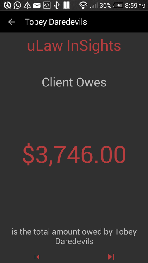 View how much money each client owes via the mobile app