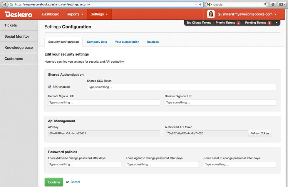 Deskero settings configuration