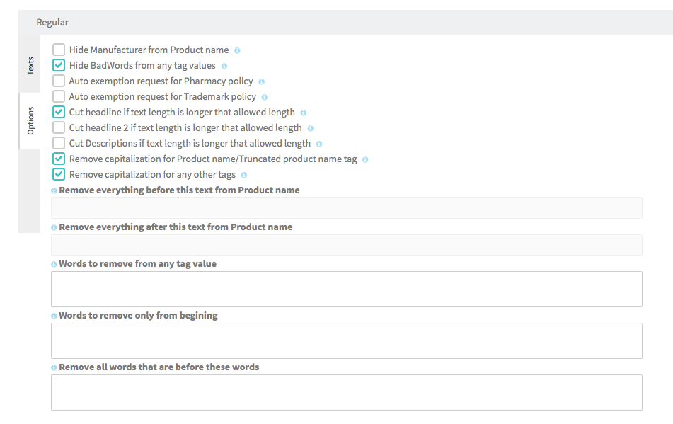 Review specialist features (functions) in Ad pattern builder.
