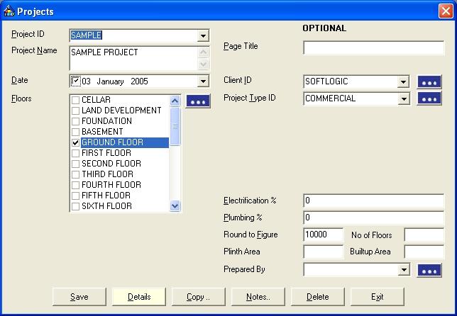 Estimator 2.0 projects screenshot
