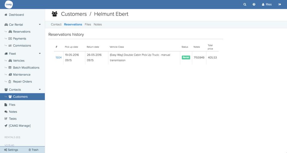 HQ Rental Softwarecustomer details
