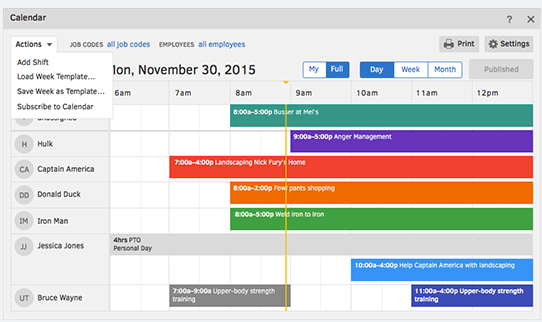 Create and edit a schedule in minutes, and see who's working in real time