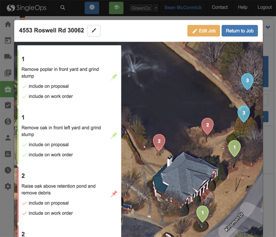 Job-site mapping allows users to drop pins and give instructions on jobs