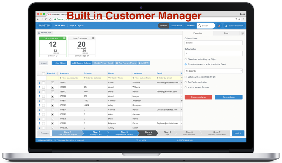 Built in Customer Manager