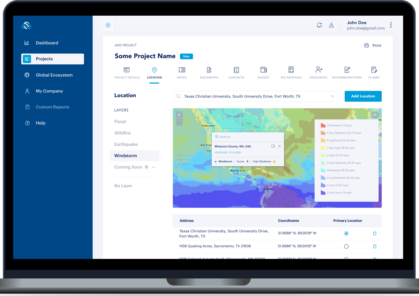 iMitig8 Risk Global allows users to visualize weather-associated risks through several enriched layers of geolocation data