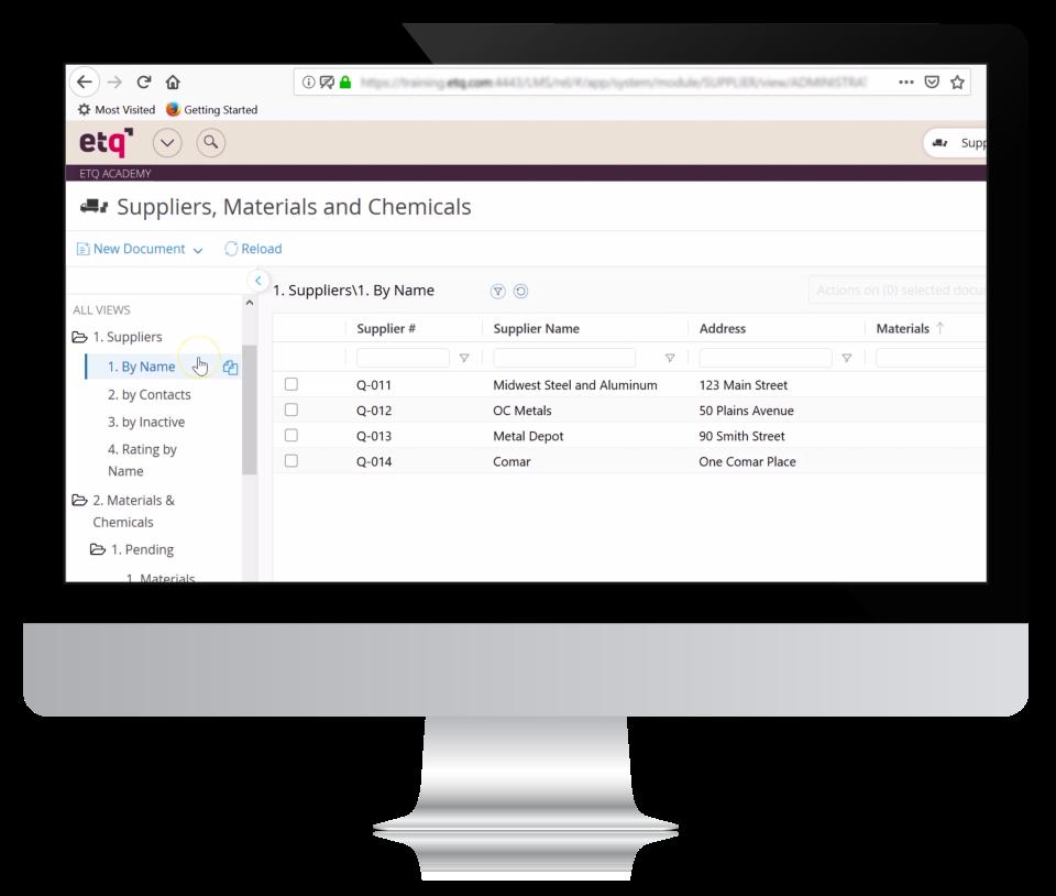 ETQ Reliance Software - Supply Chain
