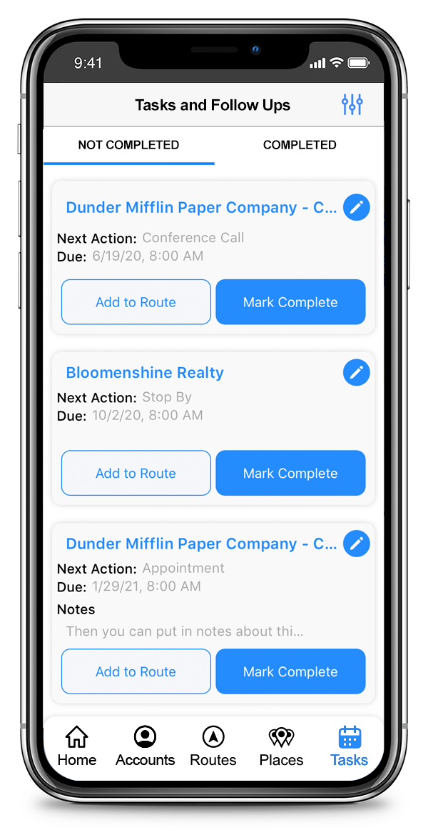 CallProof Software - Plan Your Day with Tasks and Follow-ups