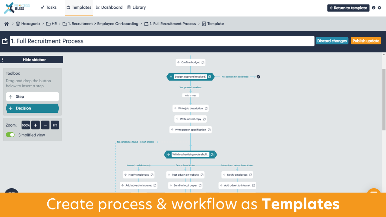 Process Bliss Software - Create policies, process & workflow as 'Templates' with the drag and drop template builder, supporting branch decisions, data capture, dependent dates and rich text