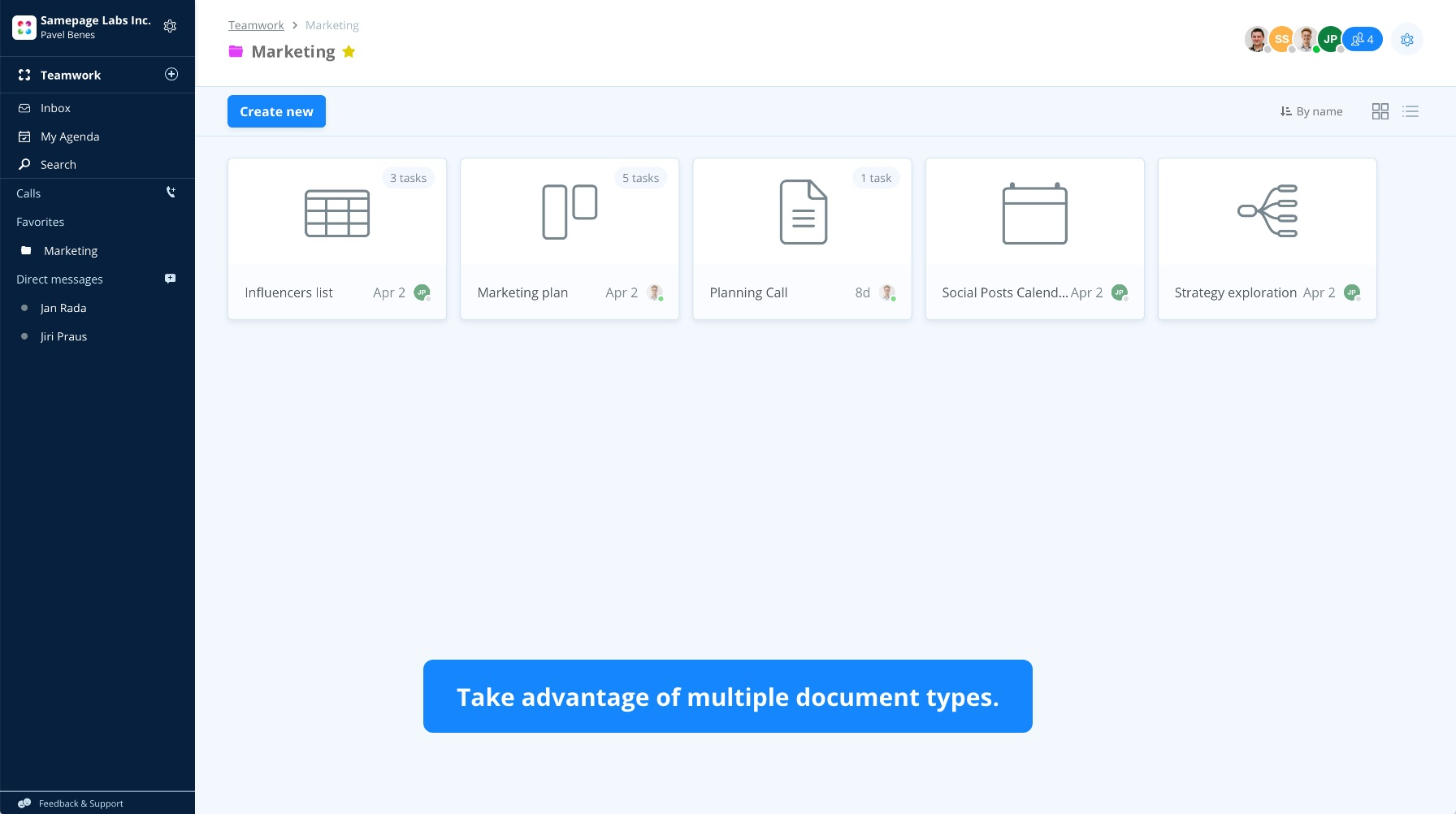 Enjoy multiple document types. You can also upload your own files and take advantage of the built-in chat and agenda options.