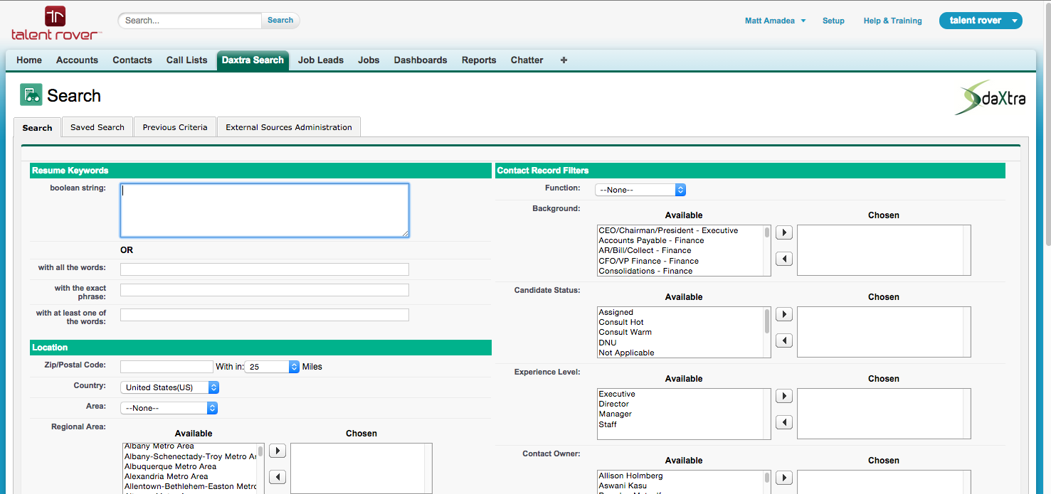 Daxtra search capability