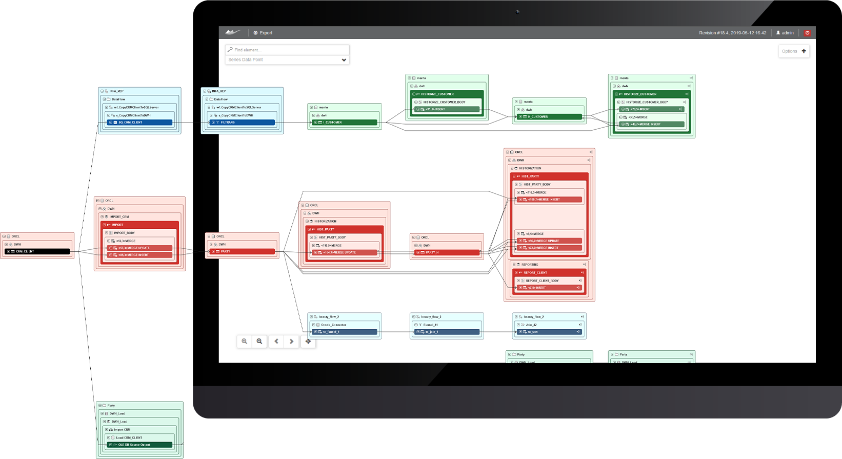 Color coding. Easily understand the generated lineage map and avoid visualization overload with our out-of-the-box options that include color coding by asset category and technology. Customized user-defined color schemas are available as well.