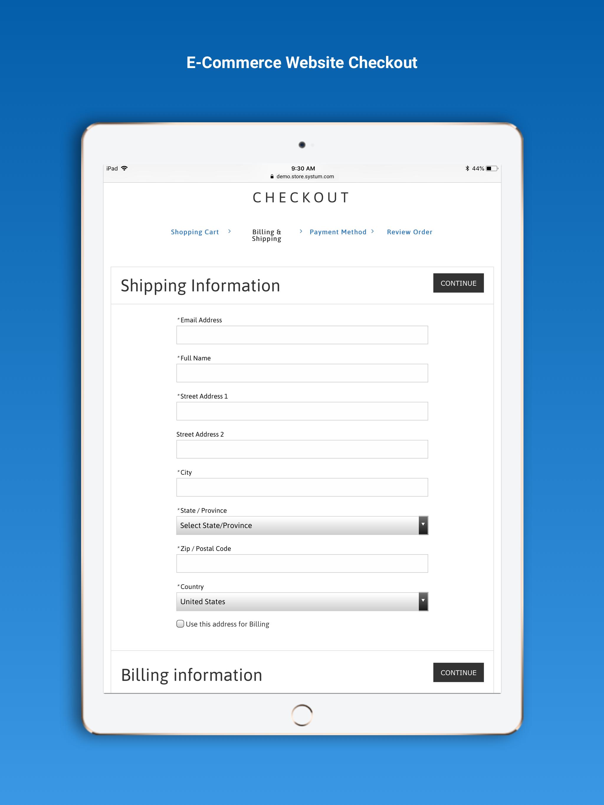 Systum e-commerce checkout screenshot