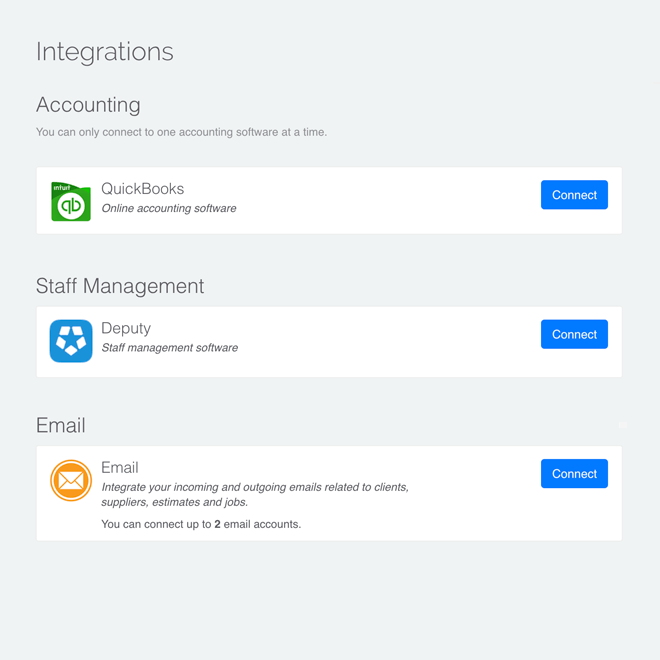 Plug straight into Xero and Quickbooks to track finances accurately and efficiently