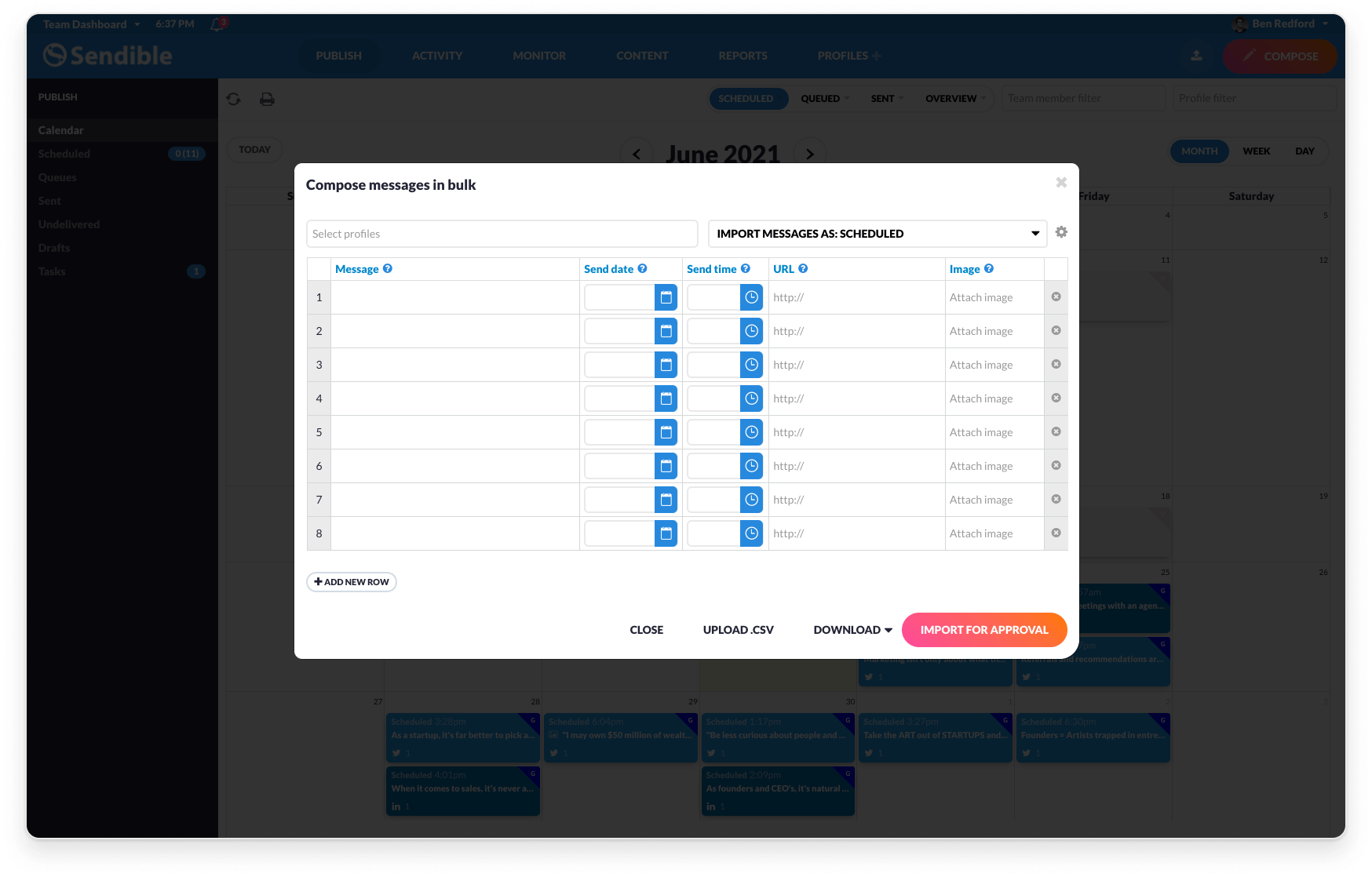 Sendible Software - It can make more sense to plan your content in bulk. With Sendible, it's as easy as preparing a CSV file and importing it into our platform for scheduling later.