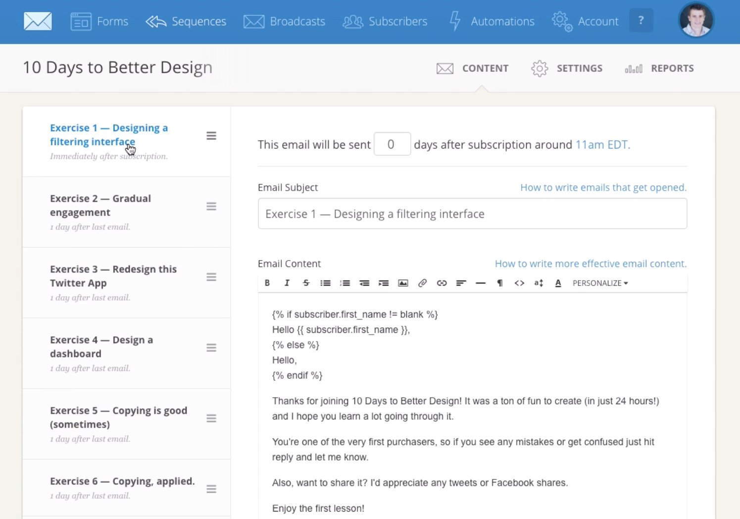 Users can create and manage drip email marketing campaigns in ConvertKit