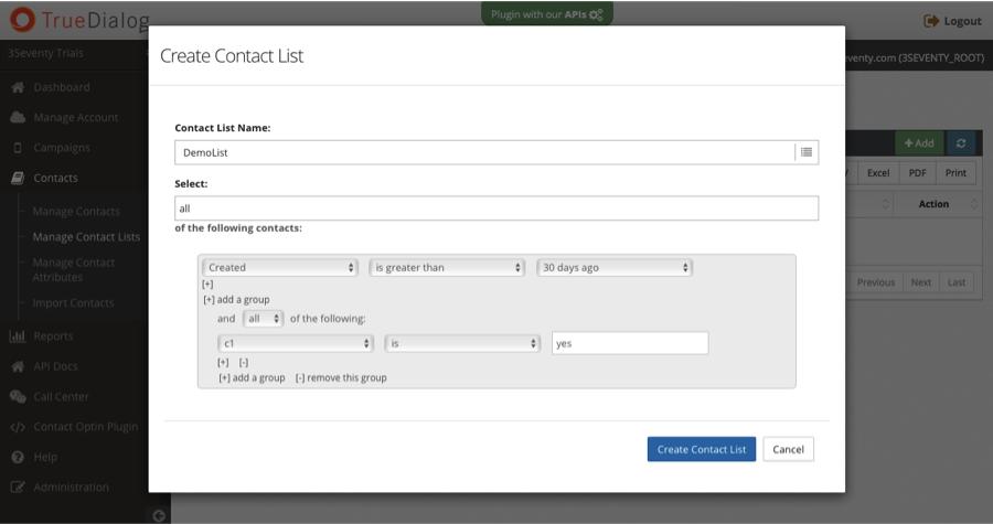 Create contact list