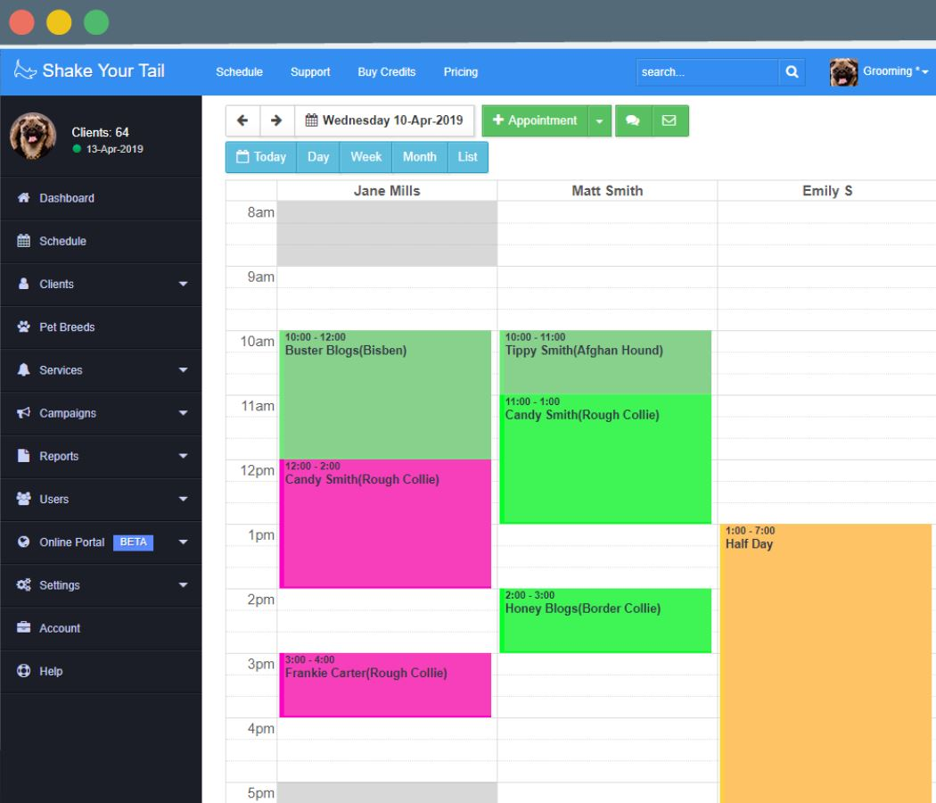 ShakeYourTail appointment schedules
