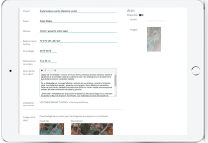 Upload images of artwork and add information and description in order to provide more insight