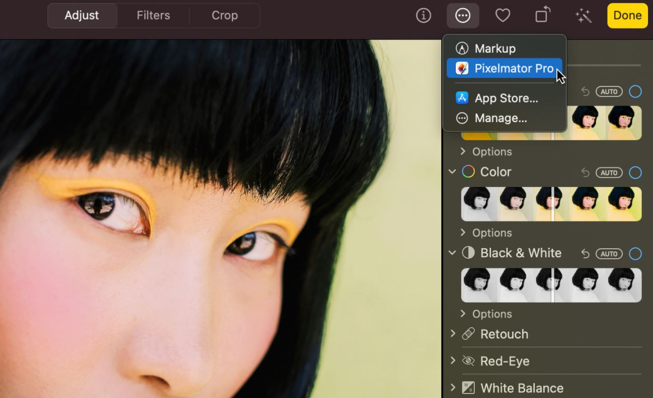 Pixelmator Pro screenshot: Pixelmator Pro adjust effects on images