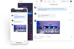 Captura de tela do Zoom Meetings: Team members can share documents, images, and more within Zoom chats