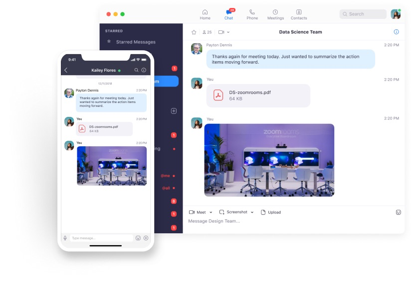 Team members can share documents, images, and more within Zoom chats