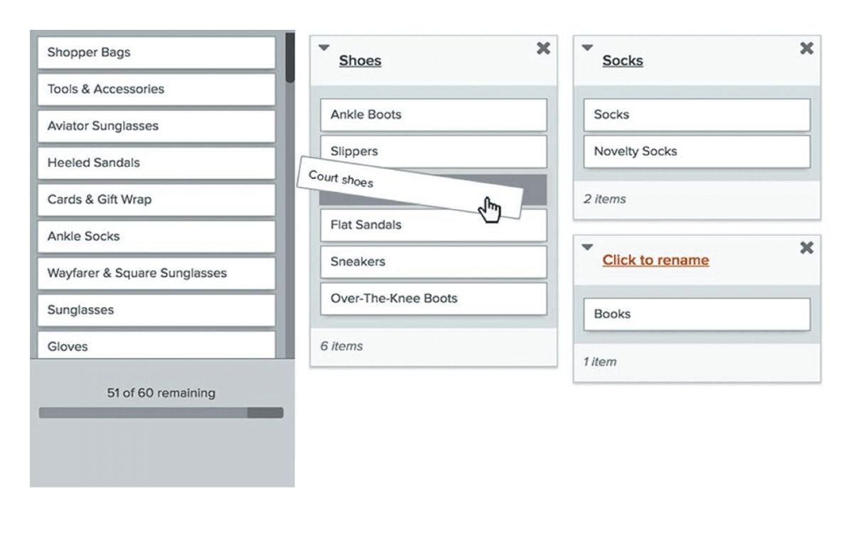 OptimalSort Software - OptimalSort card categorization
