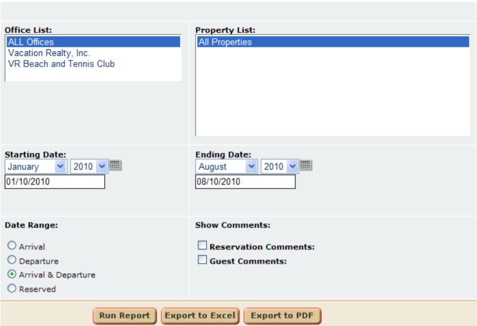 Virtual Resort Manager reservation management
