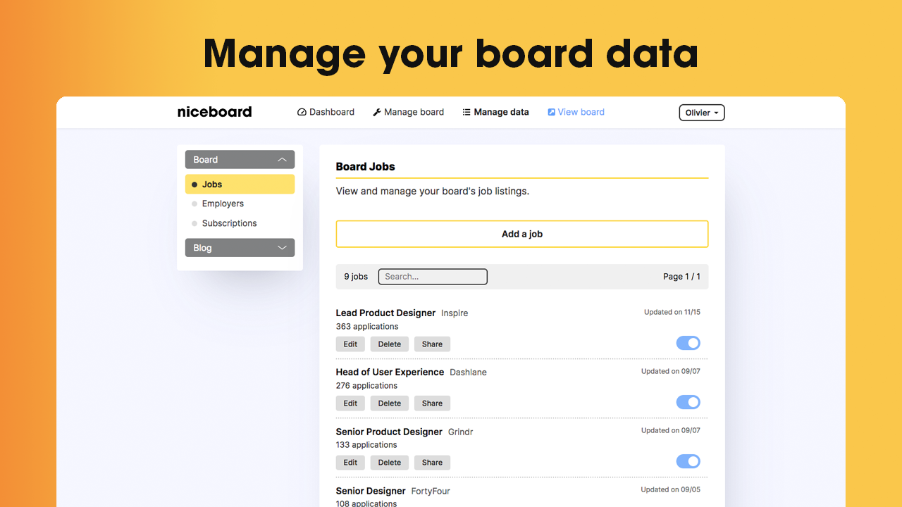 Manage jobs, employers and more seamlessly