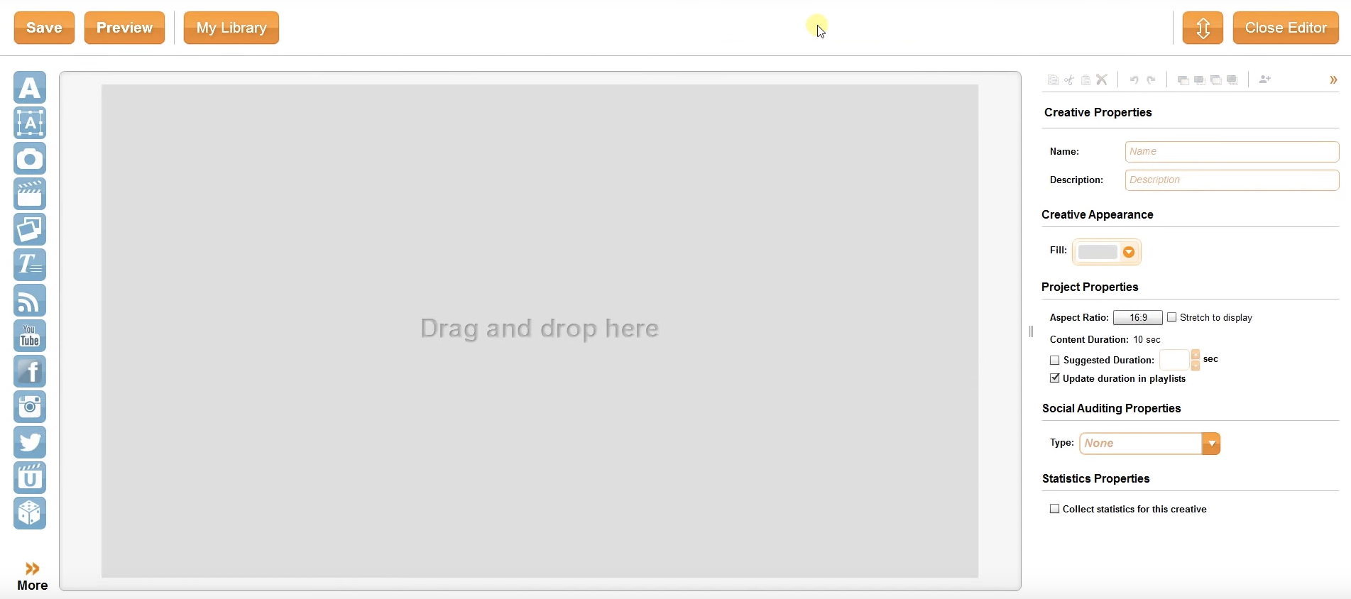 Users can create slides using the drag-and-drop editor