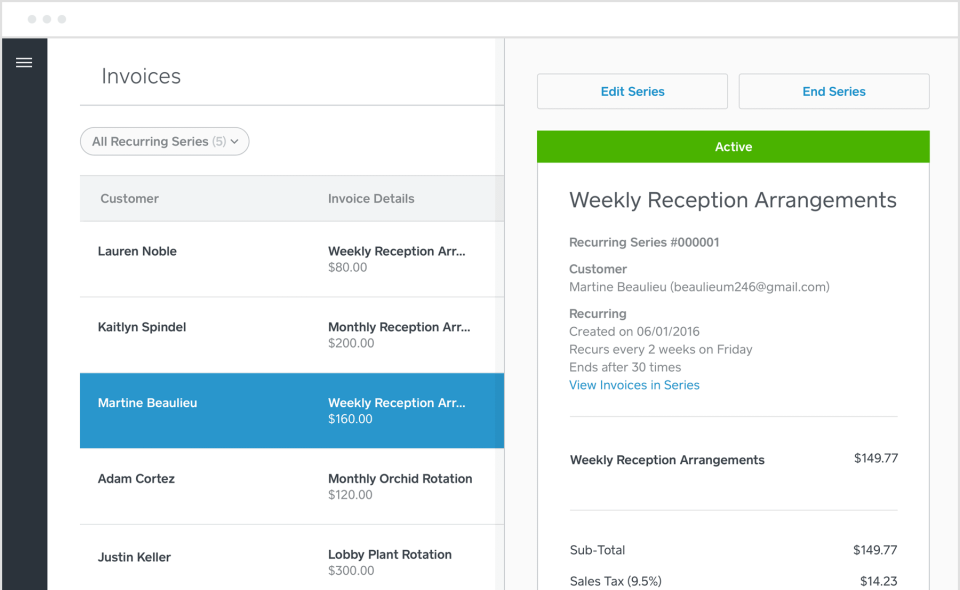 Invoices can also be created for recurring purchases or subscriptions