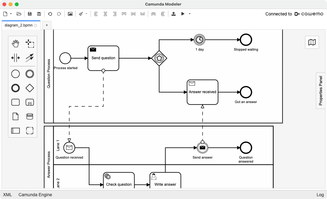 Camunda Modeler is a desktop application for modeling BPMN workflows and DMN decisions. It's user-friendly, allowing multiple developers to work together on the same diagrams.