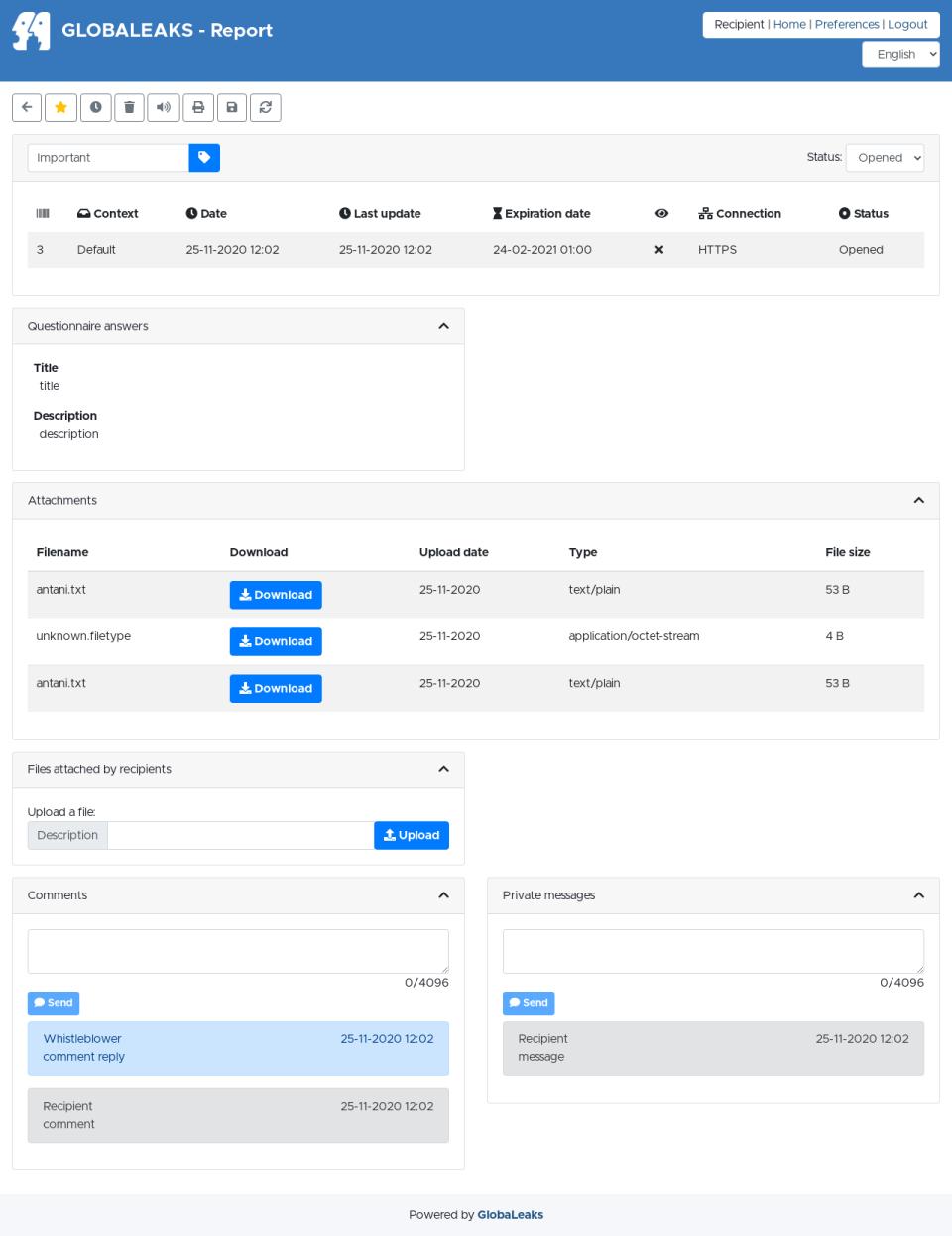 GlobaLeaks report status portal