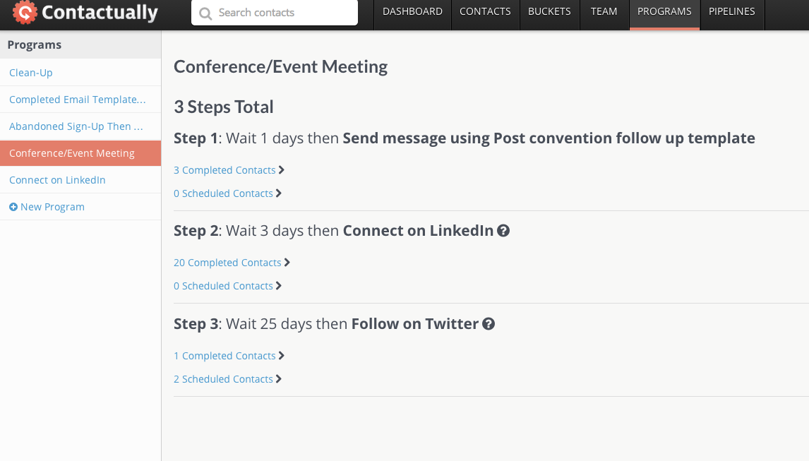 Contactually Software - Events and follow-up programs