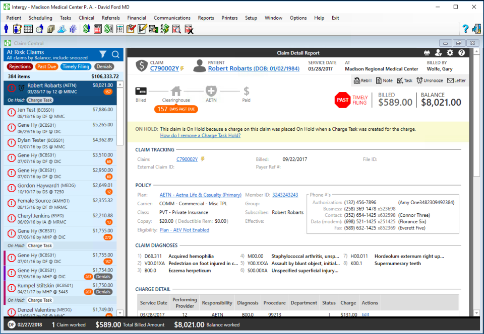 Intergy's Claim Control screen with searchable At Risk Claims, then a Claim Detail Report for a demo patient detailing claim tracking, policy, claim diagnosis and charge detail