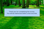 SurveyLab screenshot: Thank you page with redirection