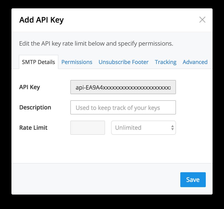 SMTP2GO adding API key