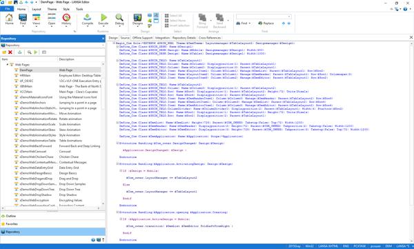 Visual LANSA source code editor